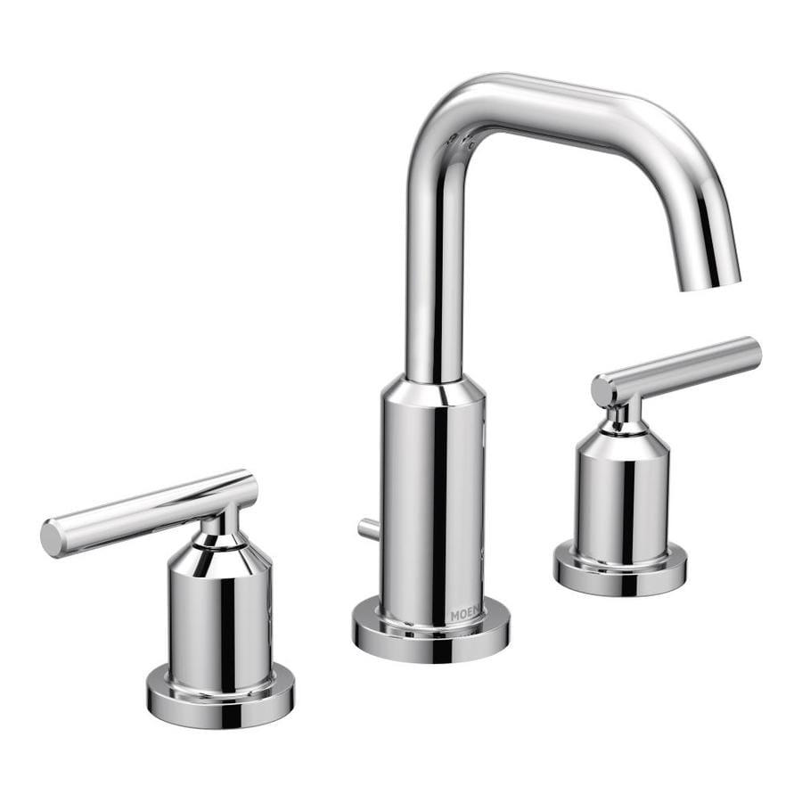Moen gibson chrome 2 handle widespread bathroom sink - Moen chrome bathroom sink faucets ...