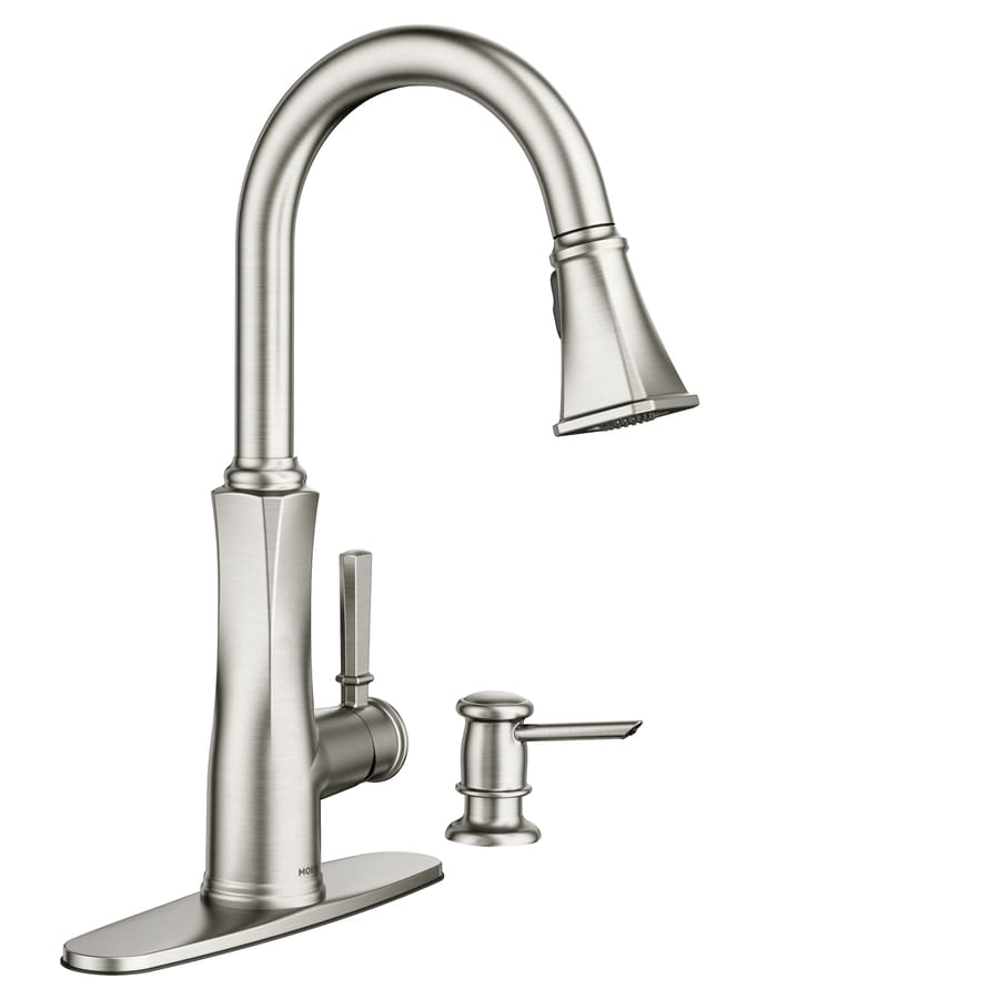 Shop Moen Lizzy Spot Resist Stainless 1 Handle Deck Mount Pull Down Kitchen Faucet At