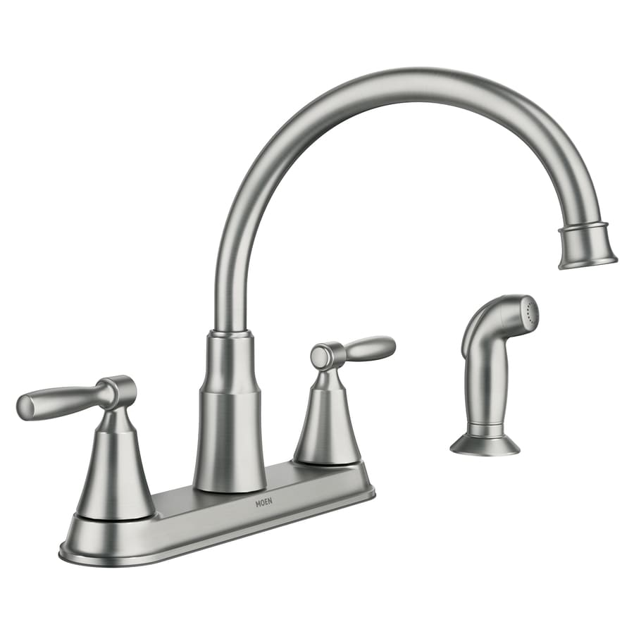 kitchen faucets moen hutchinson spot resist stainless 2 handle deck mount mid arc kitchen faucet at lowes com 3477