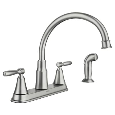 Hutchinson Spot Resist Stainless 2-handle Deck Mount High-arc Kitchen Faucet