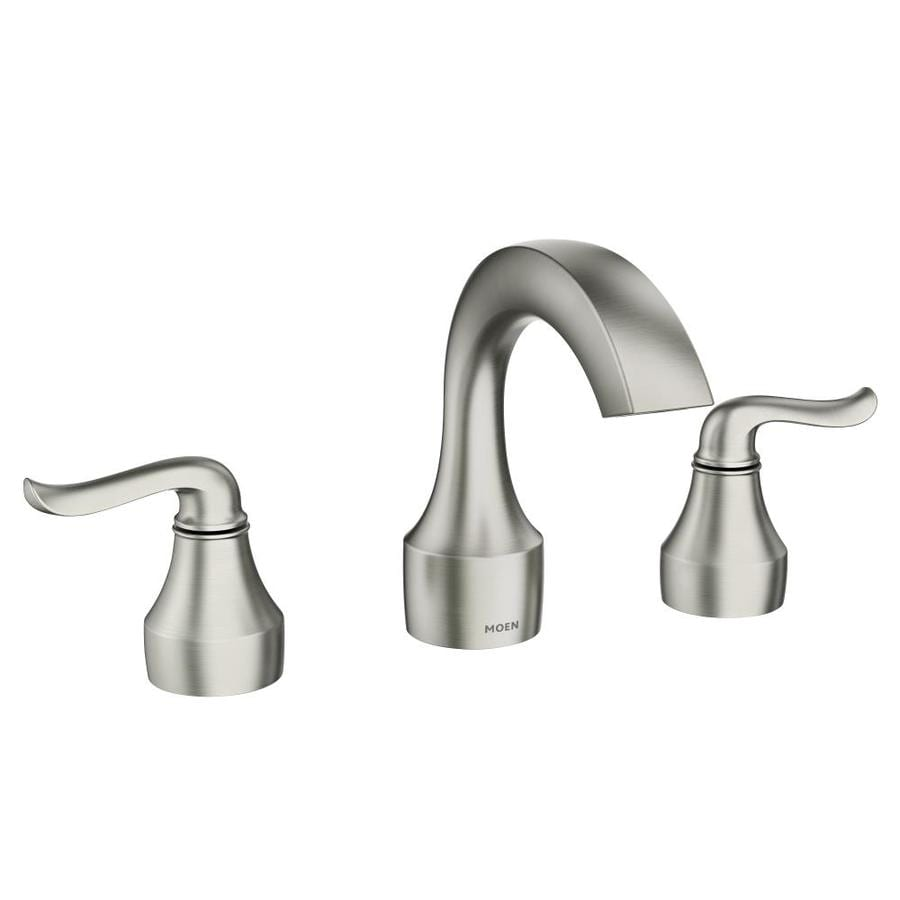 widespread nickel bath faucet high handle faucets resist banbury in spot arc moen sink p bathroom brushed