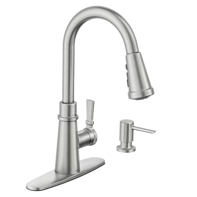 Moen Tullis Spot Resist Stainless 1 Handle Deck Mount Pull Down Handle Kitchen Faucet Deck Plate Included In The Kitchen Faucets Department At Lowes Com