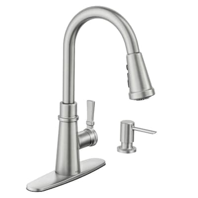 Tullis Spot Resist Stainless 1 Handle Deck Mount Pull Down Kitchen Faucet