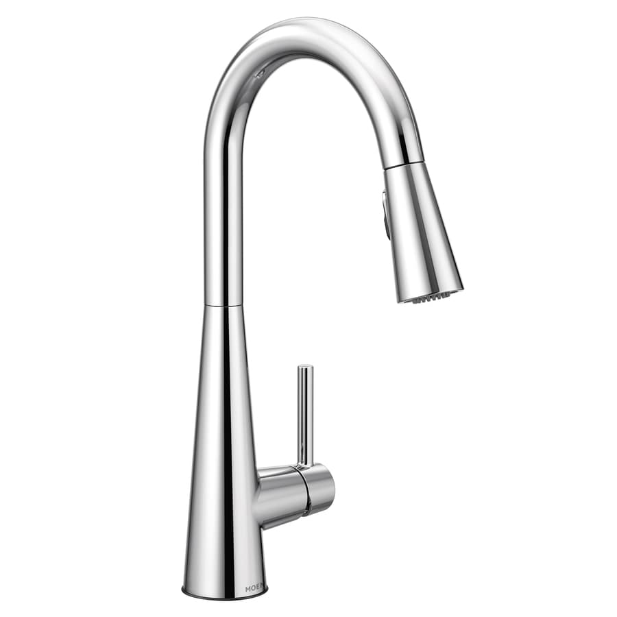 Moen Sleek Chrome 1 Handle Deck Mount Pull Down Handle Kitchen Faucet Deck Plate Included In The Kitchen Faucets Department At Lowes Com