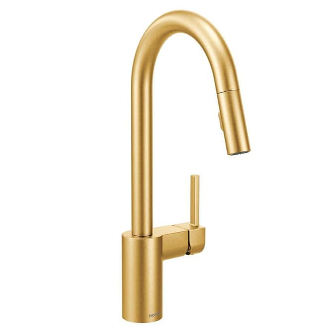 Moen Align Brushed Gold 1 Handle Deck Mount Pull Down Handle Kitchen Faucet In The Kitchen Faucets Department At Lowes Com