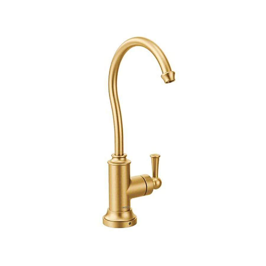 Moen Sip Brushed Gold 1 Handle Deck Mount High Arc Kitchen Faucet At