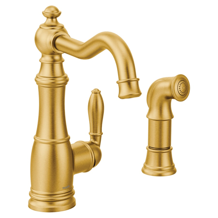 Gold Kitchen Faucet: Moen Weymouth Brushed Gold 1-Handle Deck Mount High-Arc