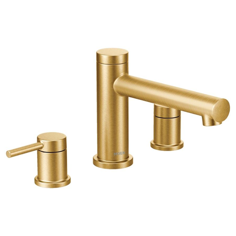 moen align brushed gold 2 handle deck mount roman bathtub faucet at. Black Bedroom Furniture Sets. Home Design Ideas