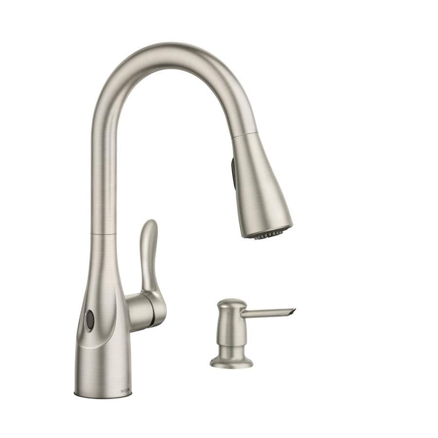kitchen faucets moen arlo spot resist stainless 1 handle deck mount pull down touchless kitchen faucet at lowes com 5785