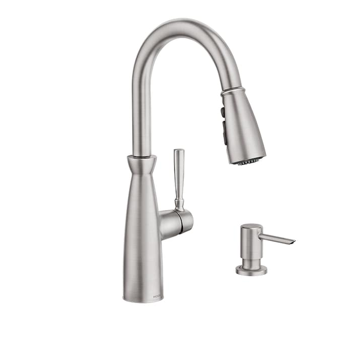 Moen Surie Spot Resist Stainless 1 Handle Deck Mount Pull Down Handle Kitchen Faucet Deck Plate Included In The Kitchen Faucets Department At Lowes Com