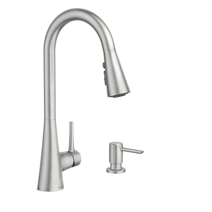 Moen Sarai Spot Resist Stainless 1 Handle Deck Mount Pull Down Handle Kitchen Faucet Deck Plate Included In The Kitchen Faucets Department At Lowes Com