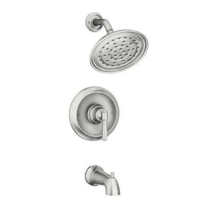 Halle Spot Resist Brushed Nickel 1 Handle Commercial Residential Bathtub And Shower Faucet With Valve Included