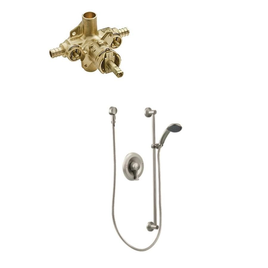 Moen Commercial 104424 Mixing Valve With Check Valves In: Moen Commercial Posi-Temp Brushed Nickel Bathtub And