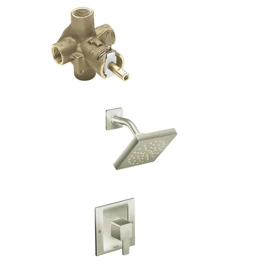 Moen 90 degree posi temp polished chrome bathtub and shower faucet kit with valve 2510 at for Moen 90 degree bathroom faucet