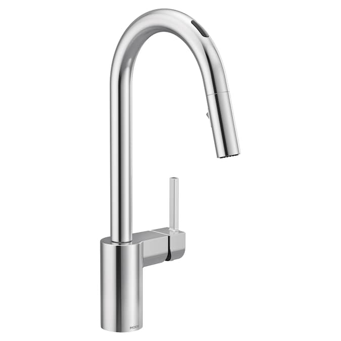 Moen U By Moen Chrome 1 Handle Deck Mount High Arc Touchless Kitchen Faucet Deck Plate Included In The Kitchen Faucets Department At Lowes Com
