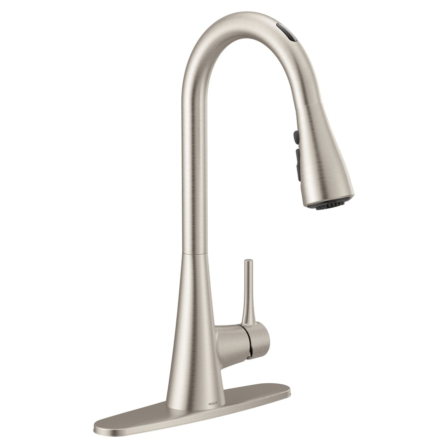 Moen Sarai Spot Resist Stainless Srs 1 Handle Deck Mount Pull Down Handle Kitchen Faucet In The Kitchen Faucets Department At Lowes Com