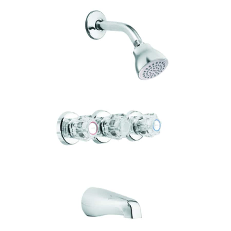 Moen Adler Chrome 3 Handle Bathtub And Shower Faucet With