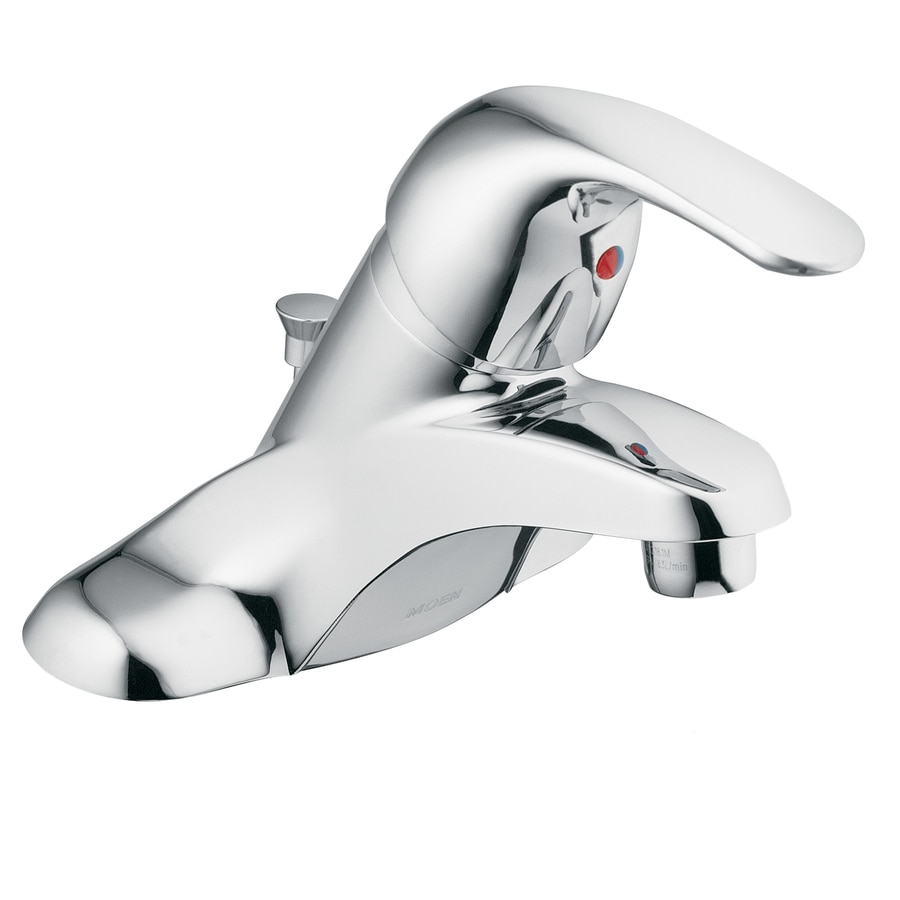 Moen Adler Chrome 1-Handle 4-in Centerset WaterSense Bathroom Faucet (Drain Included)