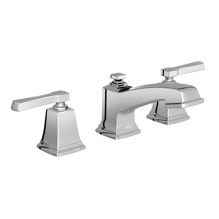 Moen Boardwalk Chrome 2 Handle Widespread WaterSense Bathroom Faucet  Drain  Included. Shop Moen Boardwalk Chrome 2 Handle Widespread WaterSense Bathroom