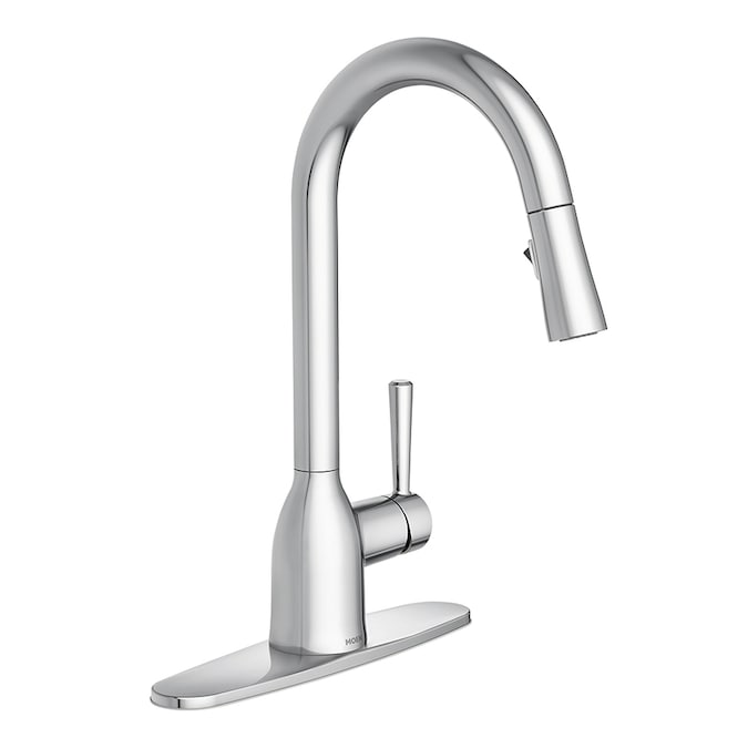 Moen Adler Chrome 1 Handle Deck Mount Pull Down Handle Kitchen Faucet Deck Plate Included In The Kitchen Faucets Department At Lowes Com