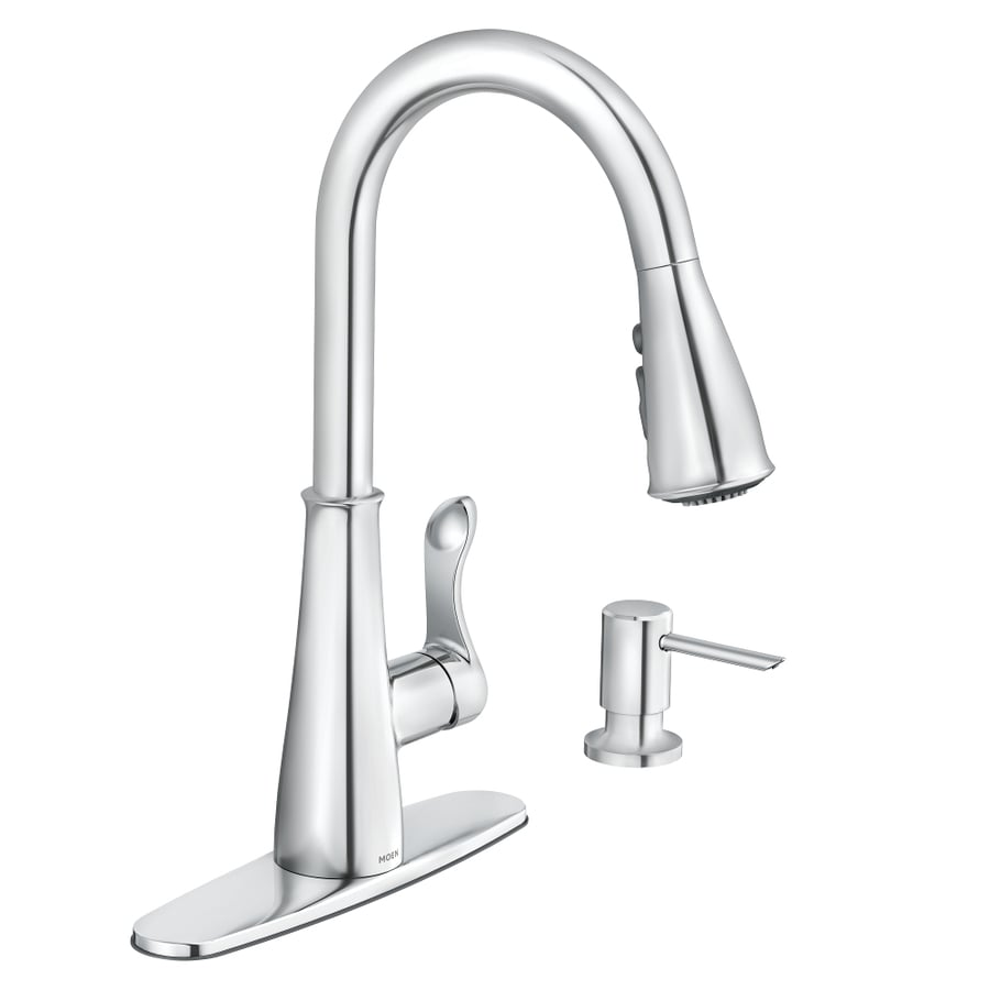 Moen Hadley Chrome 1 Handle Deck Mount Pull Down Kitchen Faucet