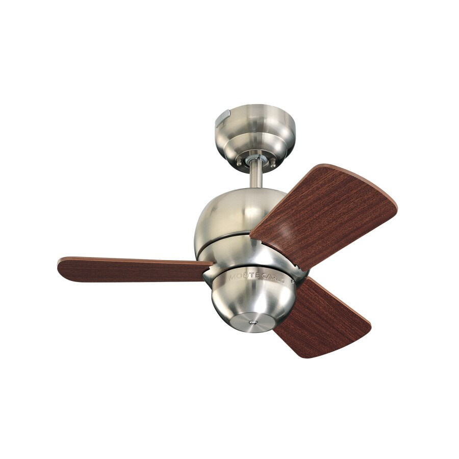 Monte Carlo Fan Company Micro 24-in Brushed Steel Multi-Position Ceiling Fan (3-Blade)