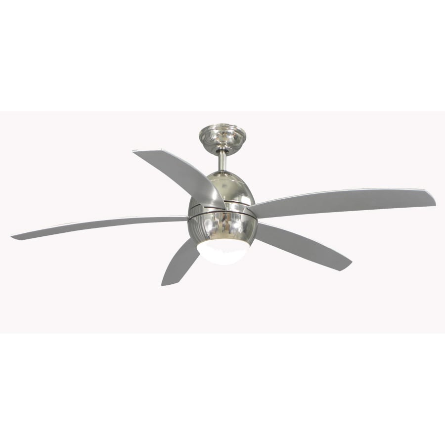shop allen + roth 52-in secor polished nickel ceiling fan with