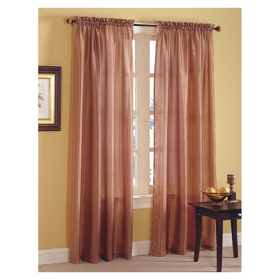 Shop Style Selections Enna Striped 84in L Striped Spice Rod Pocket Sheer Curtain at Lowes.com