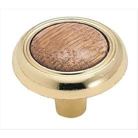 Allison Value 1-1/4 in (32 mm) Diameter Oak/Polished Brass Cabinet Knob
