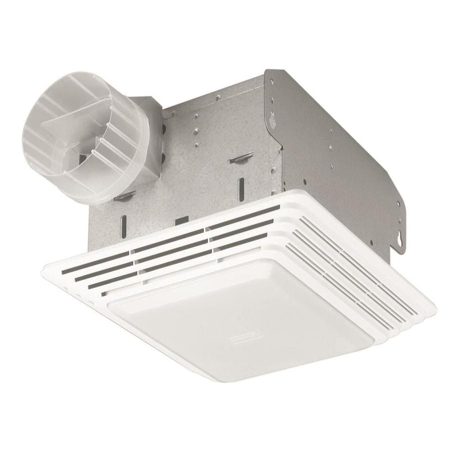 Shop broan 2 5 sone 50 cfm white bathroom fan at for Bathroom exhaust fan lowes