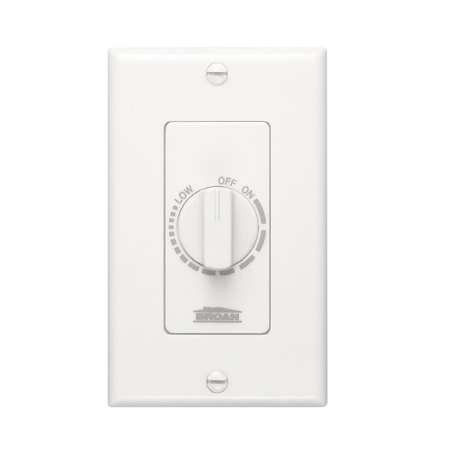 Broan Decorative Wall Controls 3-Amp Single Pole White Indoor Rotary Light Switch