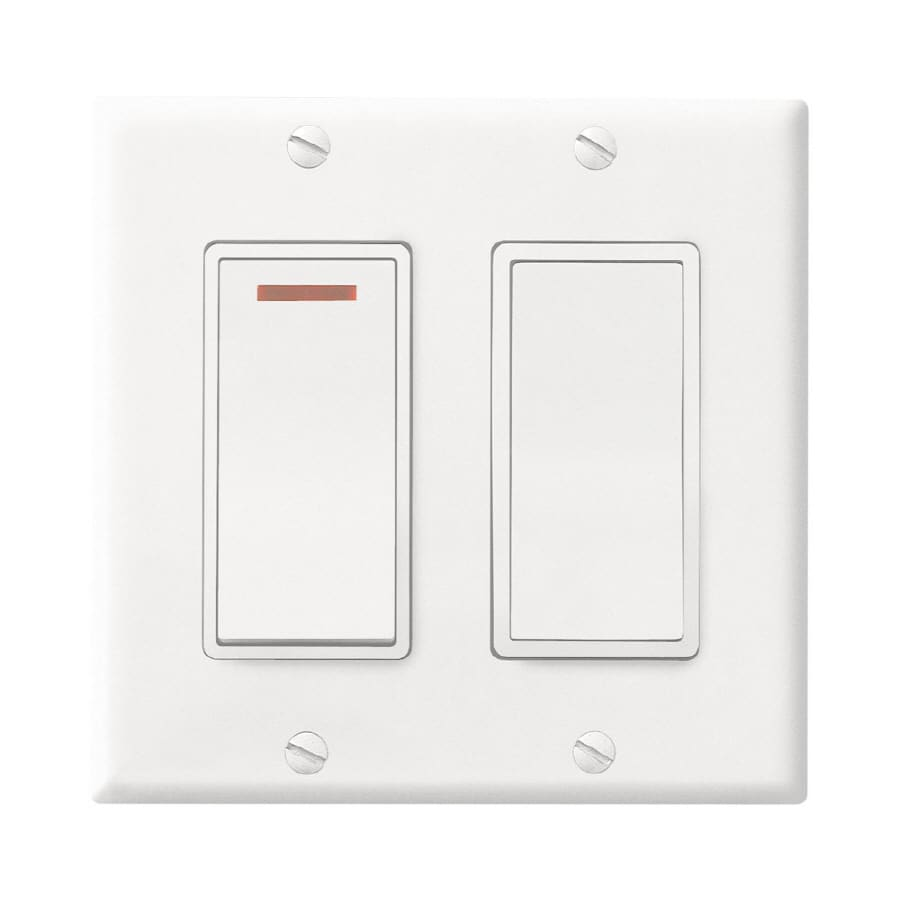 Broan Decorative Wall Controls 2-Switch 20-Amp Double Pole White Indoor Rocker Light Switch