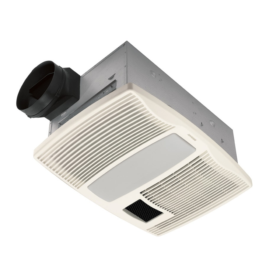 Broan 0.9-Sone 110-CFM Polymeric White Bathroom Fan with Integrated Heater and Light