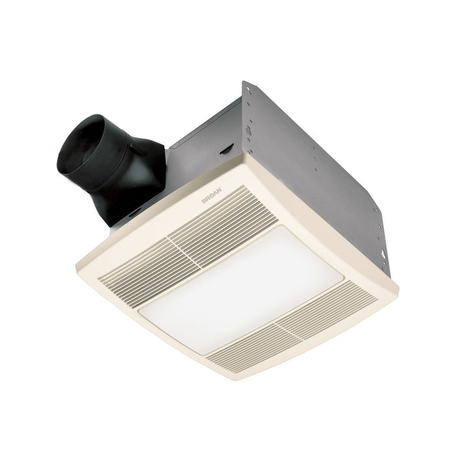 Broan 1.5-Sone 90-CFM White Polymeric Bathroom Fan Incandescent with Light