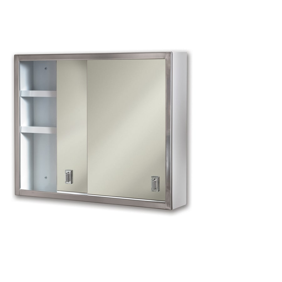 25 in rectangle surface mirrored steel medicine cabinet at