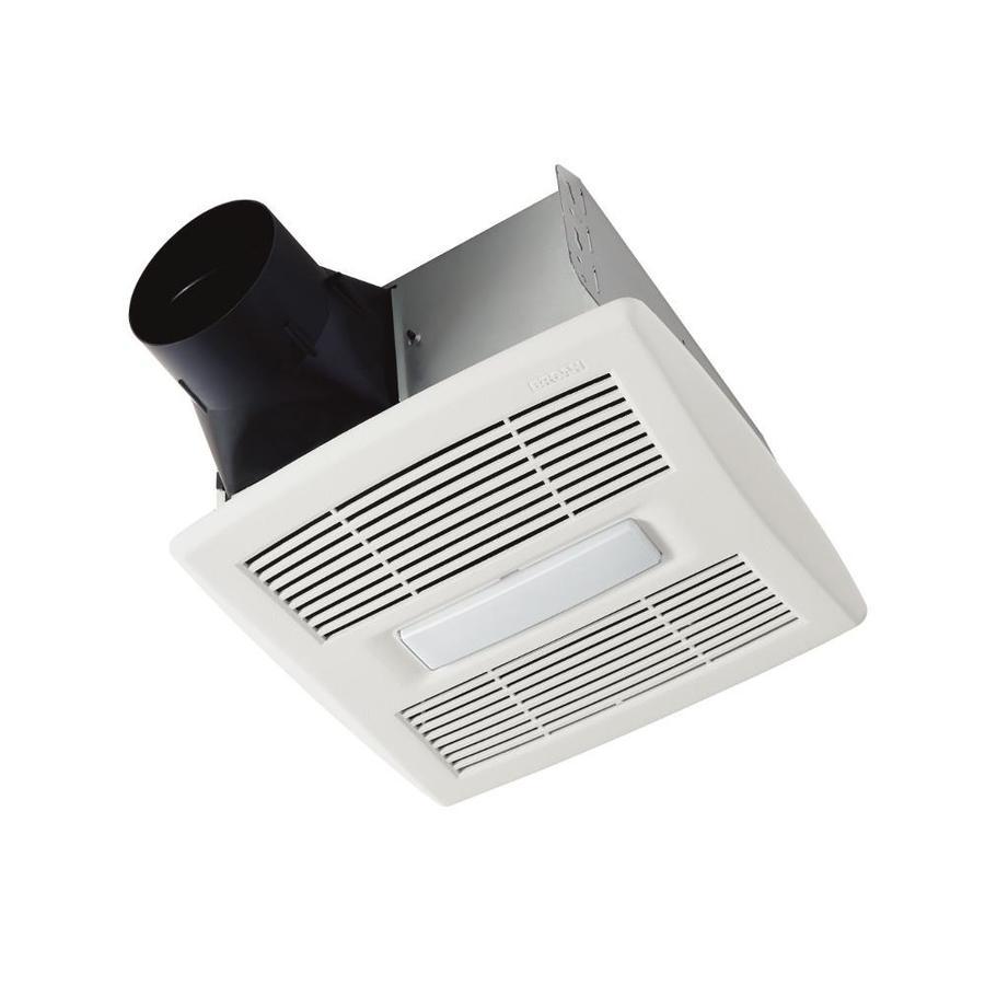 Shop broan 13 sone 110 cfm white bathroom fan energy star for Bathroom fan power consumption