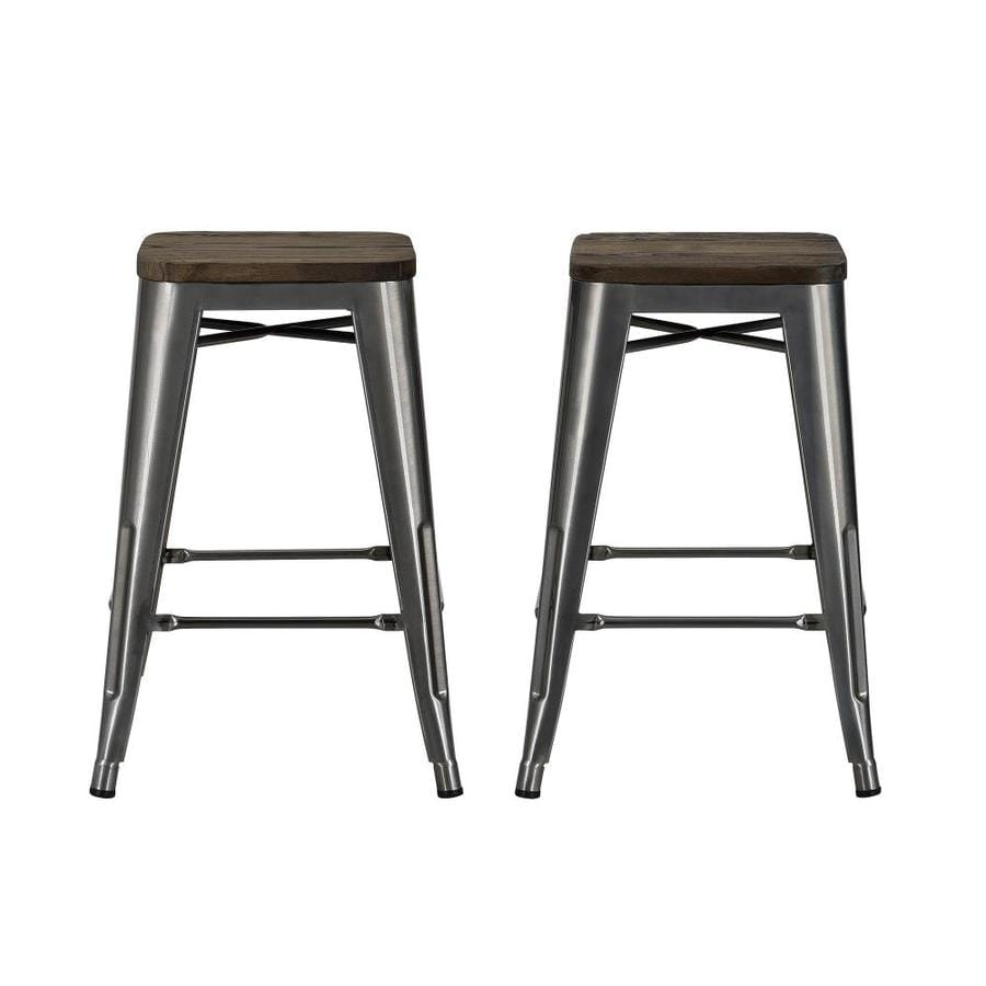 Dhp 24 In Metal Counter Stool With Wood Seat In Antique