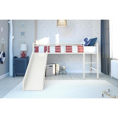 Twin Jr Loft Bed.Dhp Jade Jr Loft Bed White With Blue Slide At Lowes Com