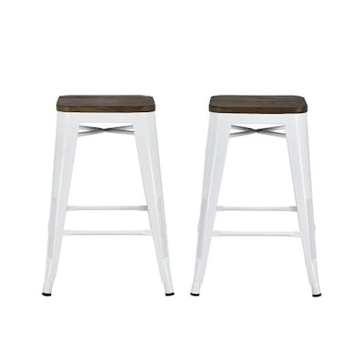 Awe Inspiring Dhp Set Of 2 White Counter Stool At Lowes Com Unemploymentrelief Wooden Chair Designs For Living Room Unemploymentrelieforg