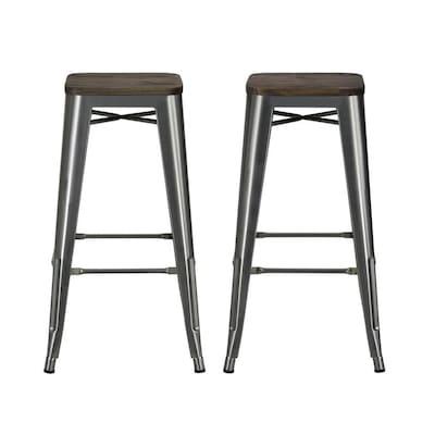 Pleasing Dhp Set Of 2 Antique Metal Bar Stool At Lowes Com Creativecarmelina Interior Chair Design Creativecarmelinacom