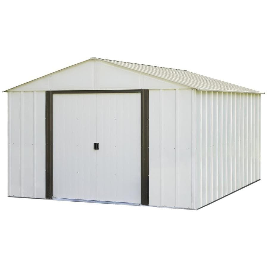 Arrow Galvanized Steel Storage Shed (Common: 10-ft x 12-ft; Interior ...