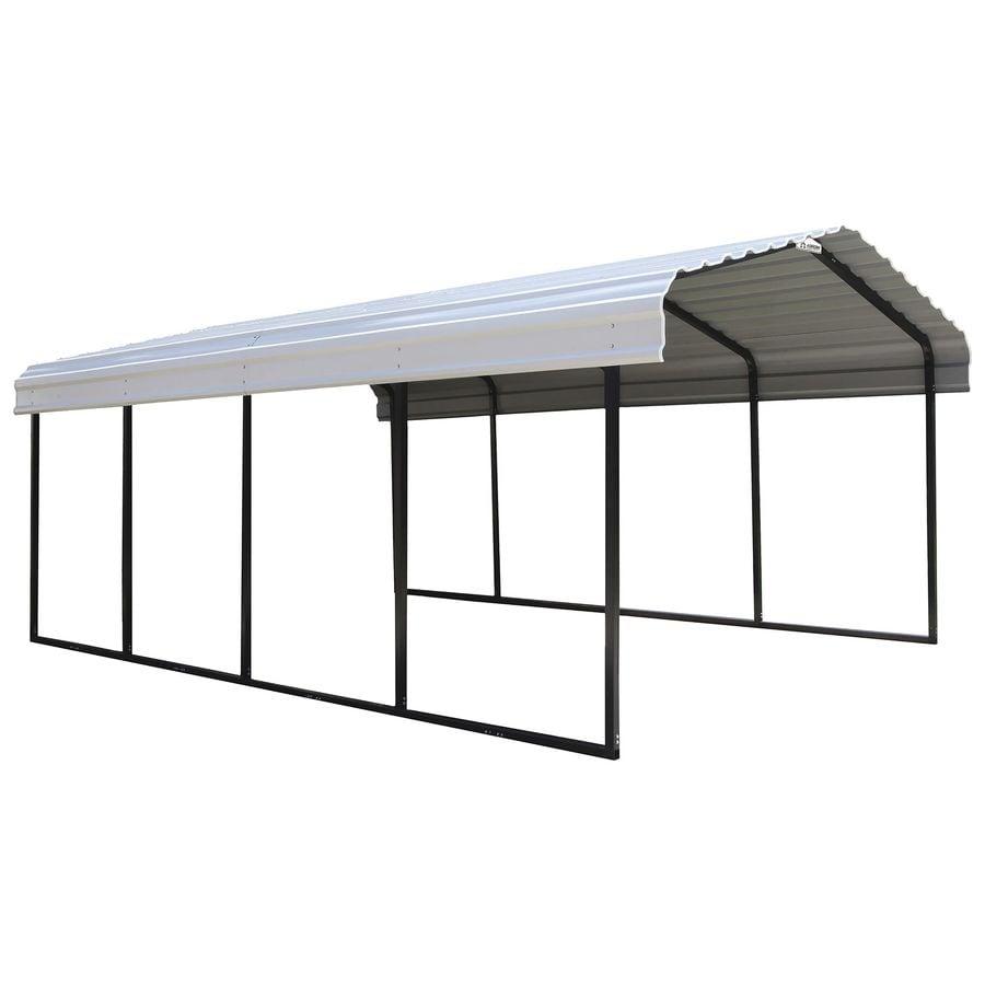 Arrow 12-ft x 20-ft x 8.5-ft Eggshell Metal Single Car Carport