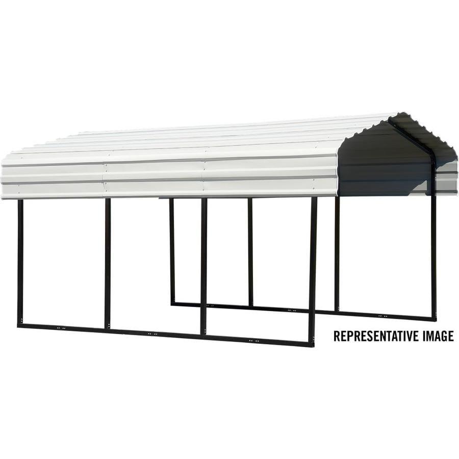 Arrow 10-ft x 24.23-ft Eggshell Metal Carport at Lowes.com
