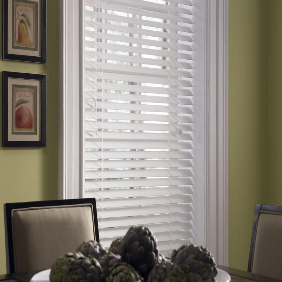 Levolor  In White Faux Wood Room Darkening Cordless Plantation Blinds