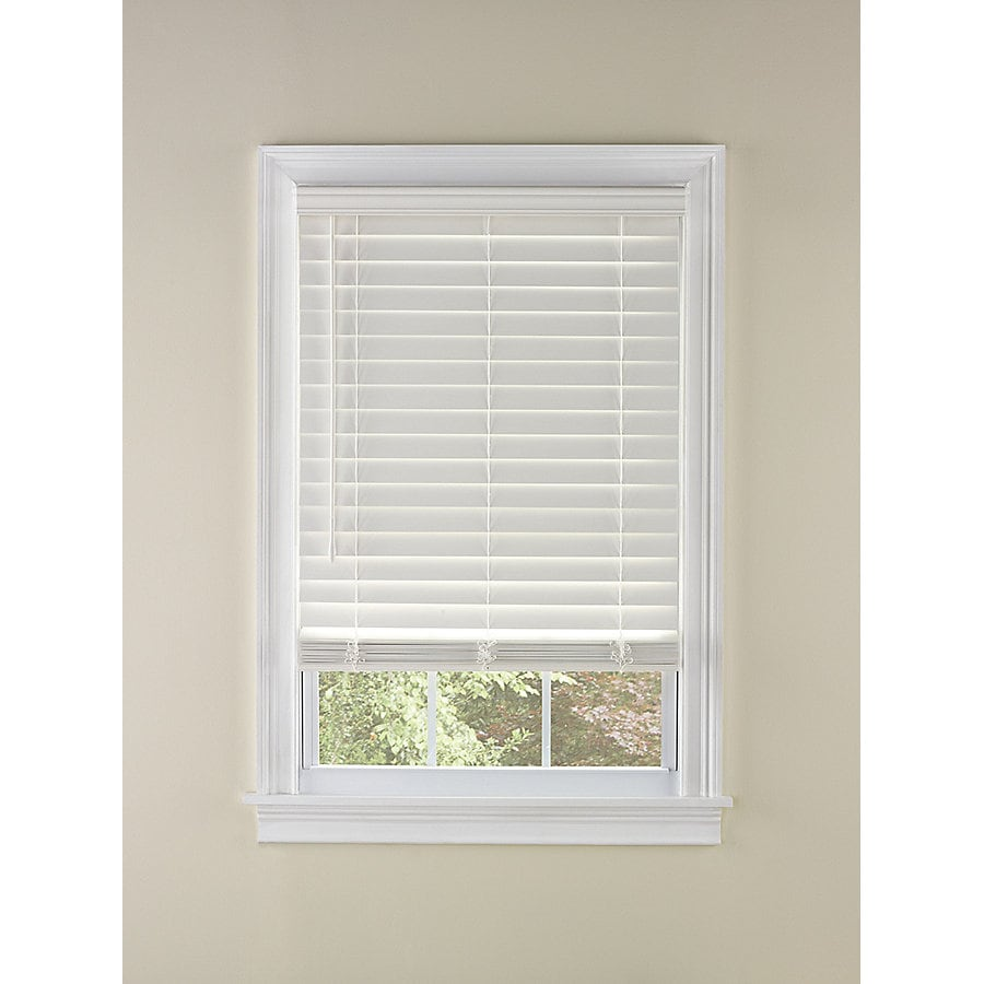 Custom Size Now by Levolor 2-in White Faux Wood Room Darkening Plantation Blinds (Common 60-in; Actual: 59.5-in x 64-in)