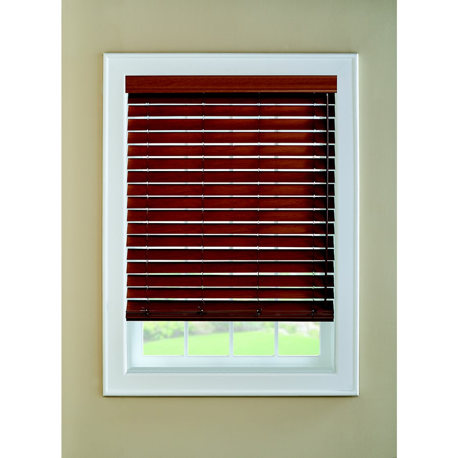 Custom Size Now by Levolor 2.0-in Walnut Faux Wood Room Darkening Plantation Blinds (Common 65.0-in; Actual: 64.5-in x 72.0-in)
