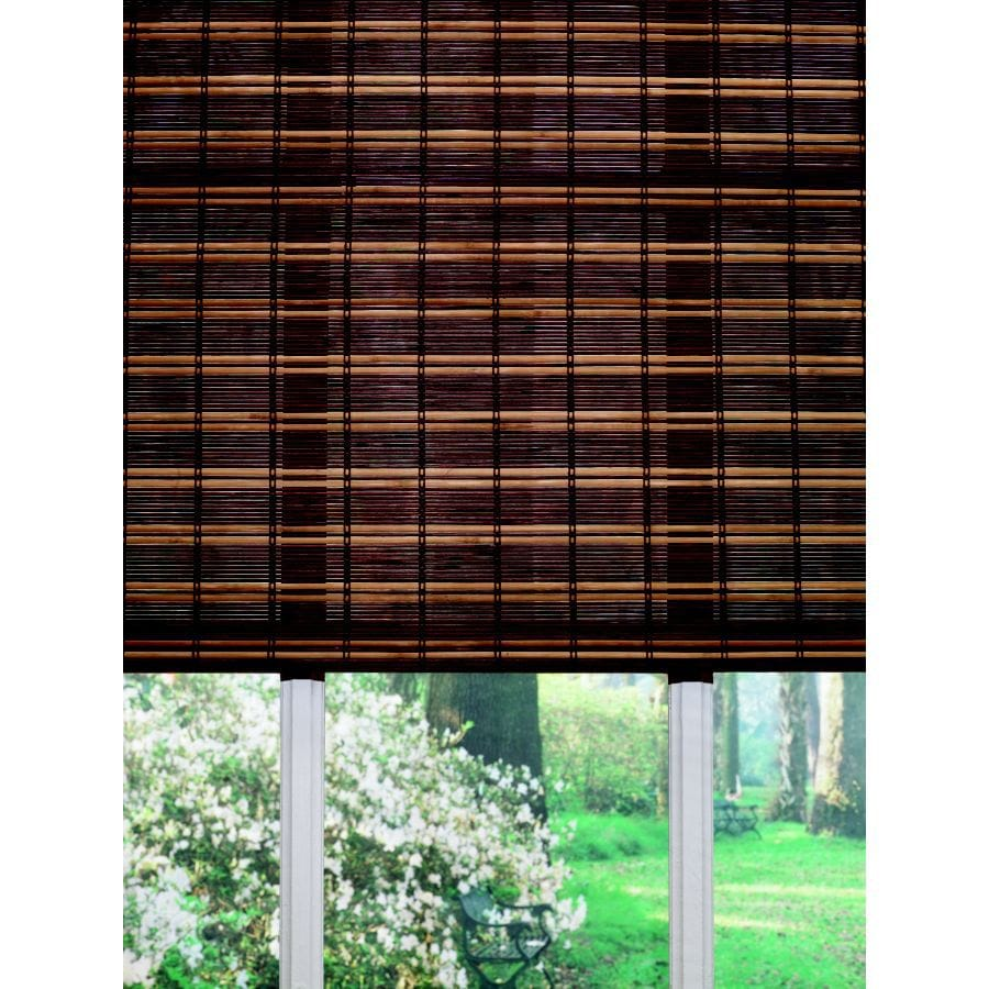 Custom Size Now by Levolor Fruitwood Light Filtering Woven Wood Natural Roman Shade (Common 36-in; Actual: 35.5-in x 72-in)