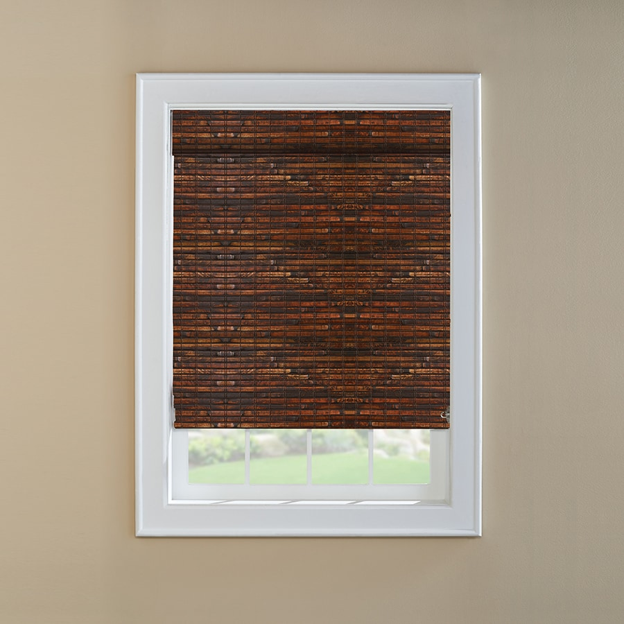 Custom Size Now by Levolor Mahogany Light Filtering Woven Wood Natural Roman Shade (Common 72-in; Actual: 71.5-in x 60-in)