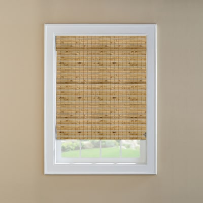 Natural Bamboo Light Filtering Roman Shade Actual 35 5 In X 72 In
