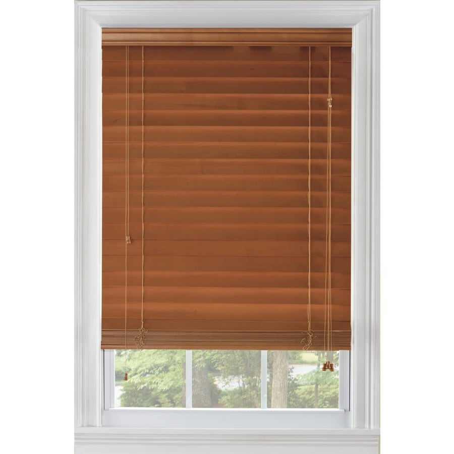 Custom Size Now by Levolor 29-in W x 64-in L Warm Cherry Wood 2.375-in Slat Room Darkening Plantation Window Blinds